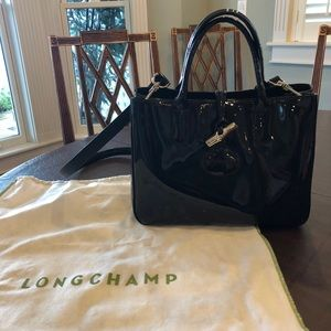 Black Patent Leather Longchamp Handbag